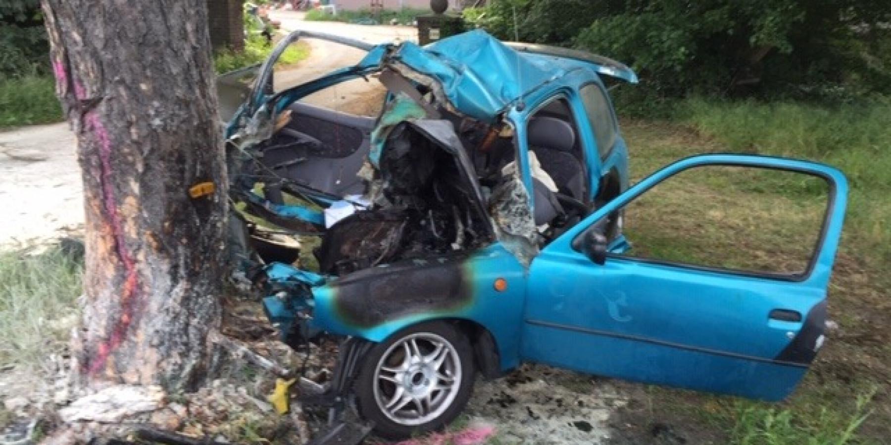 Auto prallt gegen Baum und fängt Feuer – 22-Jähriger lebensgefährlich verletzt