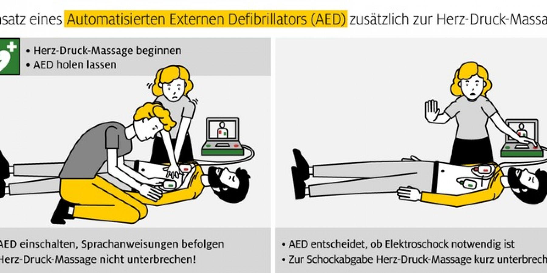 Erste Hilfe leisten – auch während Corona Für rund 50 Prozent ist ein Automatischer Externer Defibrillator (AED) kein Begriff