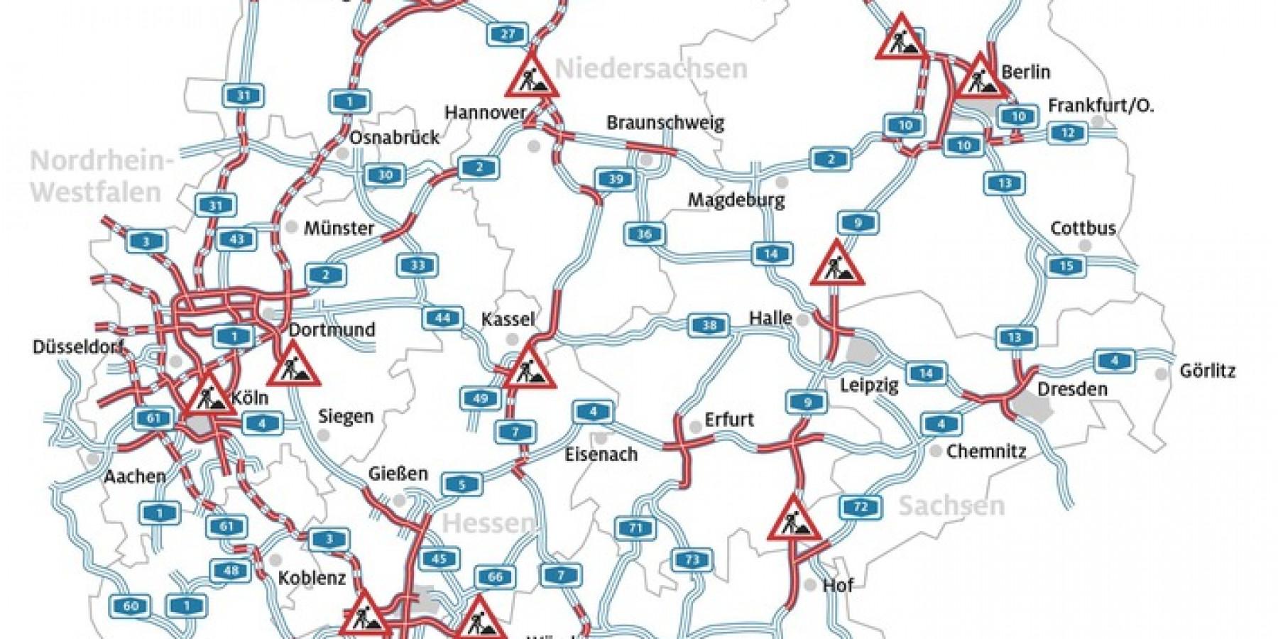 Urlaubsheimkehr zeitweise beschwerlich Ferien-Ende in Hessen, Rheinland-Pfalz und dem Saarland